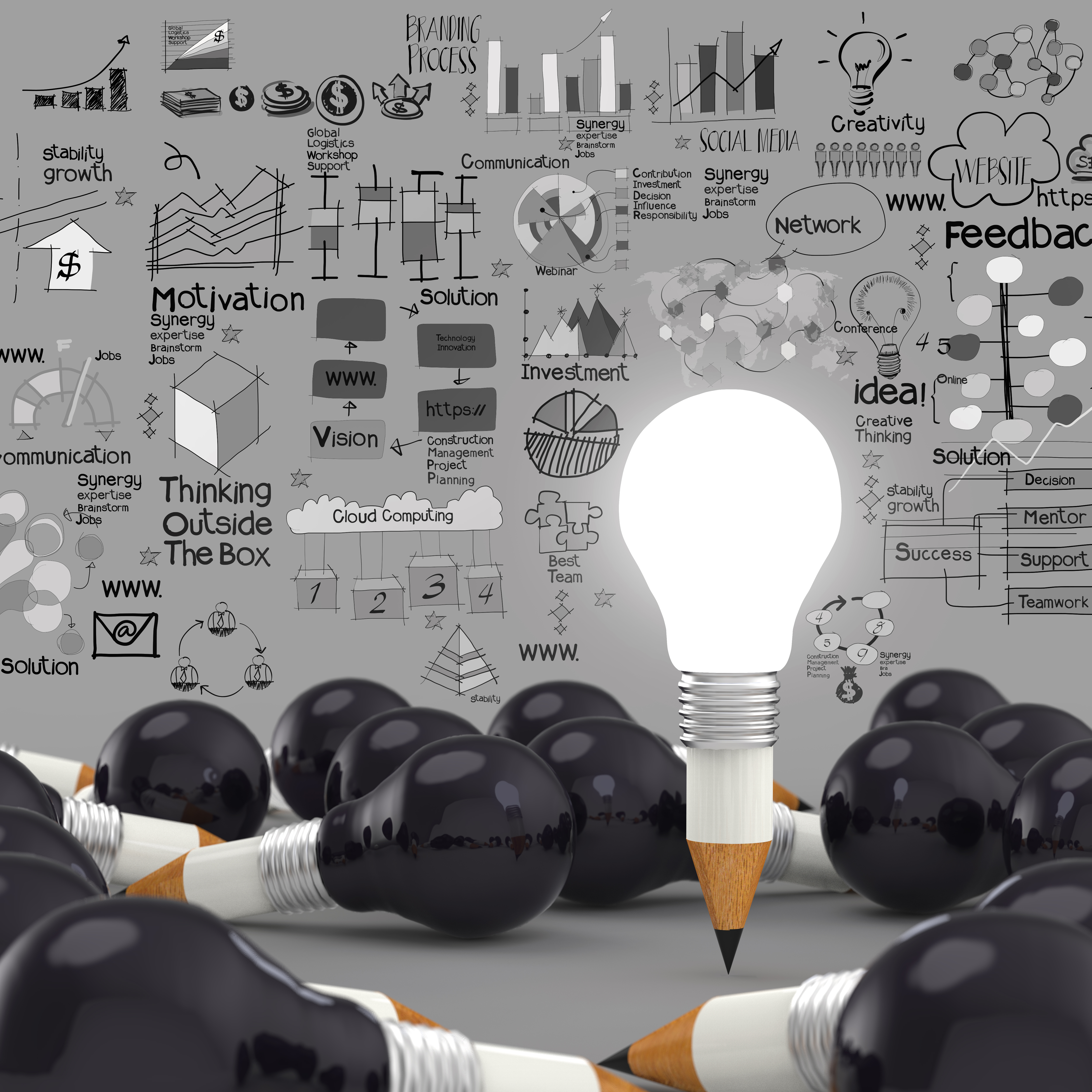 creative design business as pencil lightbulb 3d as business design con